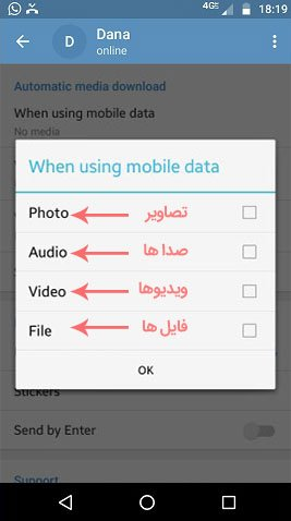 غیرفعال کردن دانلود خودکار تصاویر ویدیوها صداها و فایل ها در تلگرام - مجله آوازک